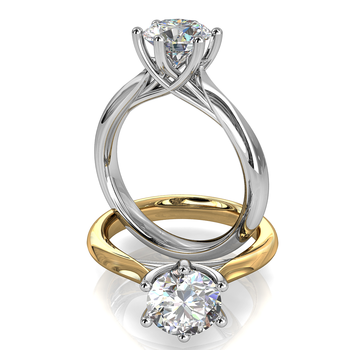 Round Brilliant Cut Solitaire Diamond Engagement Ring, 6 Button Claws on Rounded Tapered Band with Lotus Undersweep Setting.