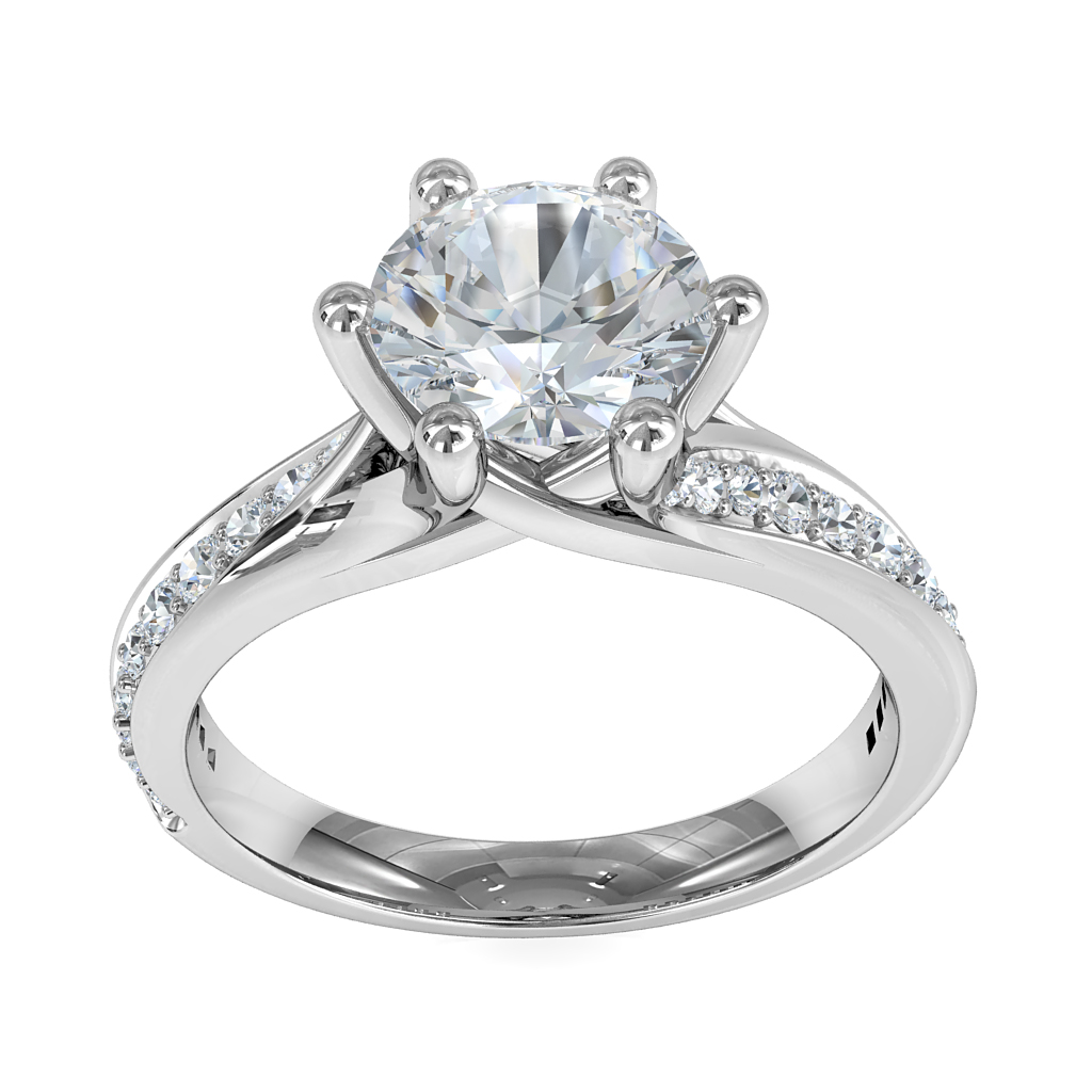 Round Brilliant Cut Solitaire Diamond Engagement Ring, 6 Claws Set on Split Sweeping Bead Set Band and Crossover Undersetting.