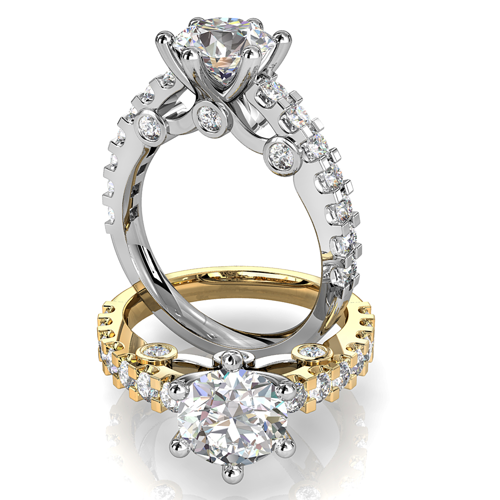 Round Brilliant Cut Solitaire Diamond Engagement Ring, 6 Sqaure Claws Set on Heavy Square cut Claw Band with Three Hidden Diamond Undersetting.