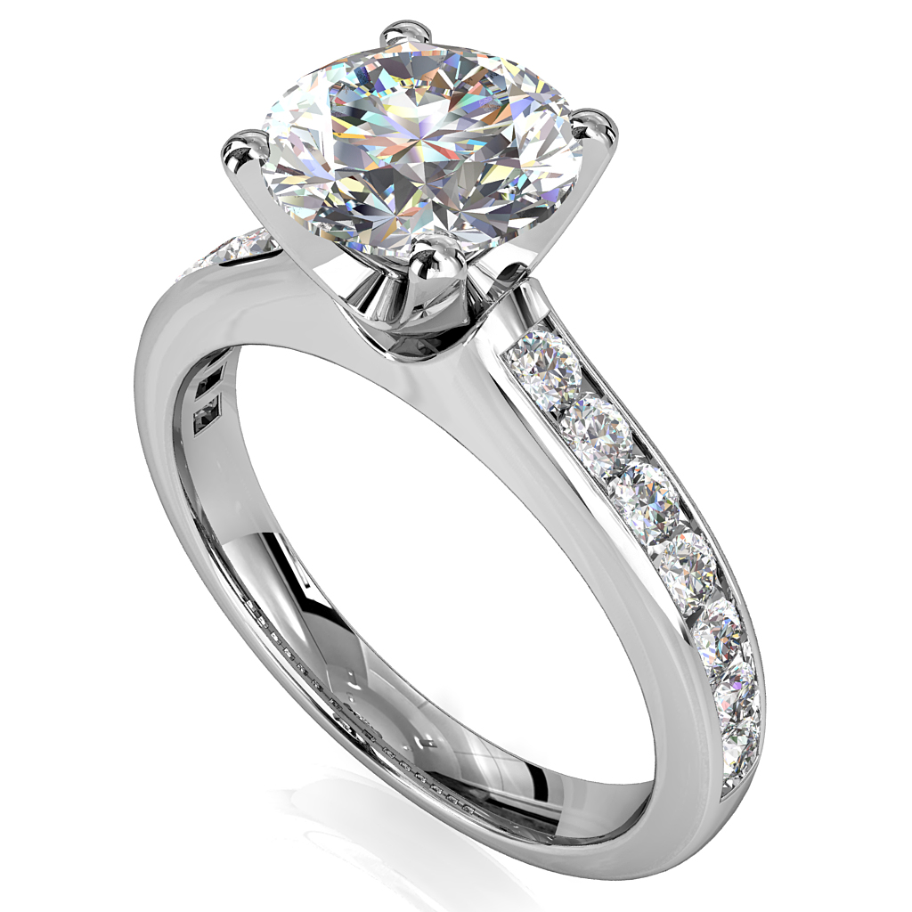 Round Brilliant Cut Solitaire Diamond Engagement Ring, 4 Button Claws Set on a Channel Set Band with Classic Undersetting.