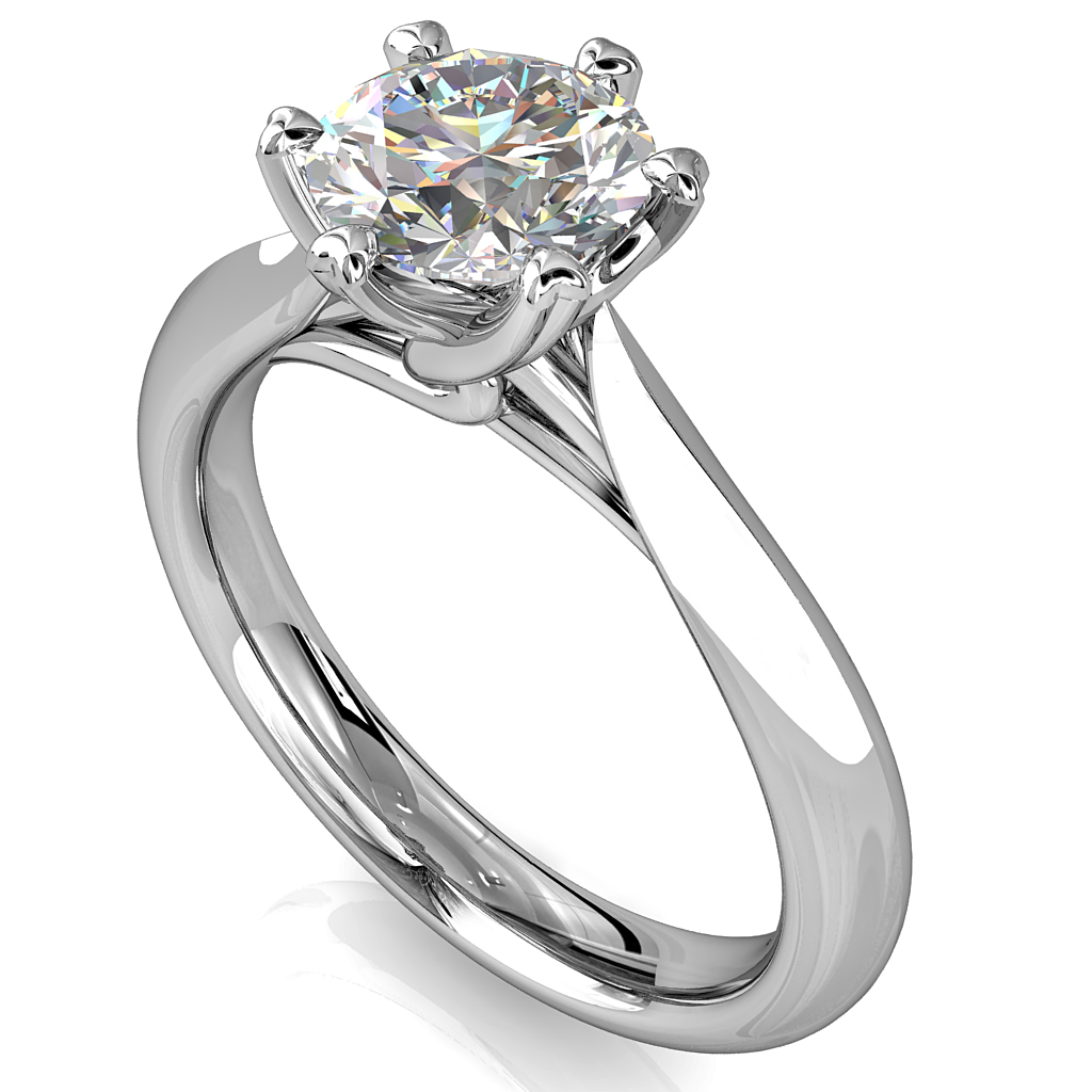 Round Brilliant Cut Solitaire Diamond Engagement Ring, 6 Triangle Claws Set on a Thin Half Rounded Tapered Band with Twisted Undersetting.
