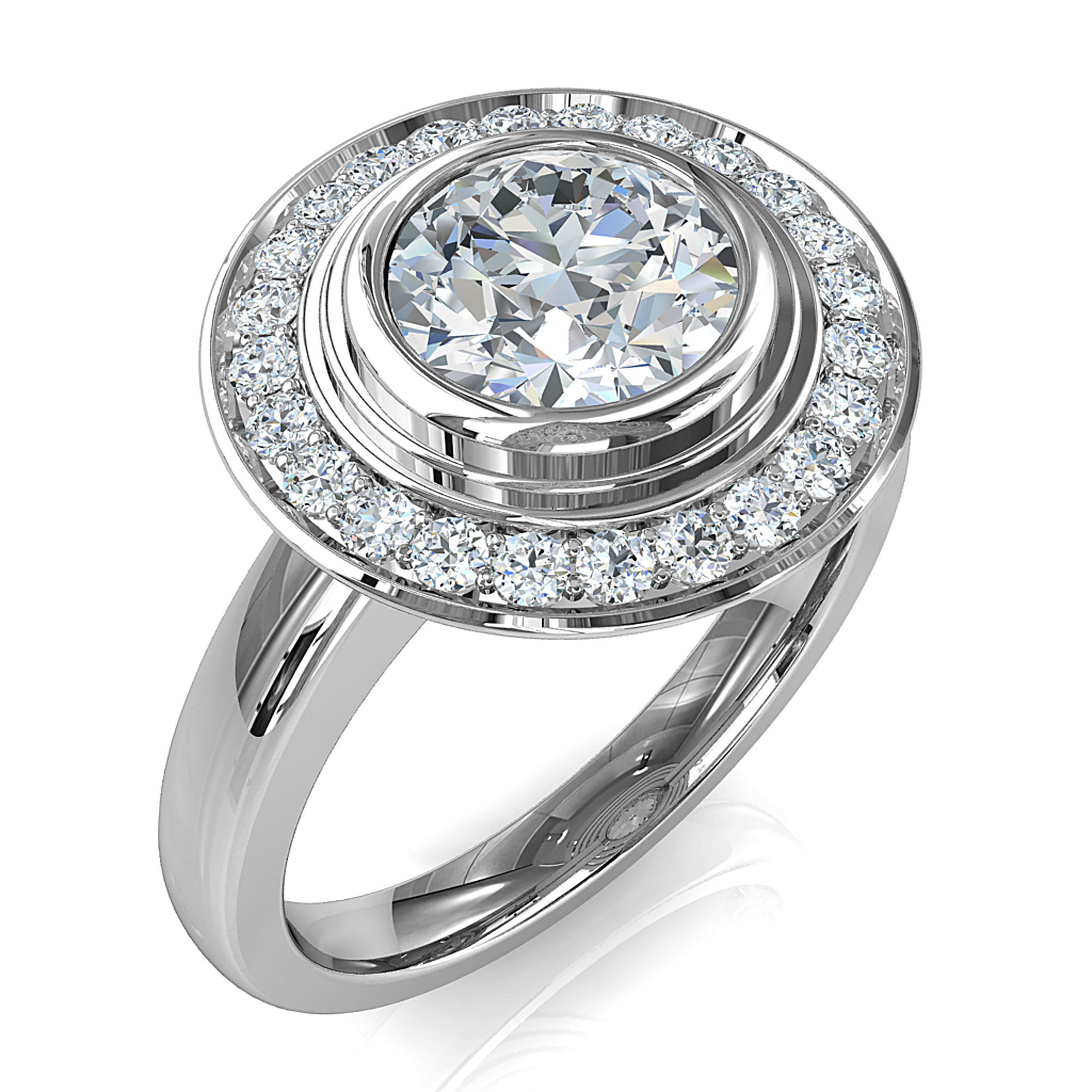 Round Brilliant Cut Diamond Halo Engagement Ring, Triple Bezel Set in a Bead Set Halo on a Plain Straight Band.