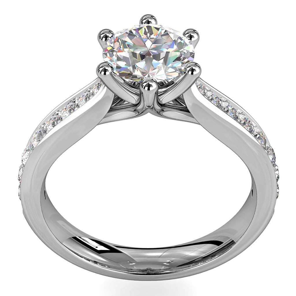 Round Brilliant Cut Solitaire Diamond Engagement Ring, 6 Button Claws Set on Pinched Bead Set Band with Undersweep Setting.