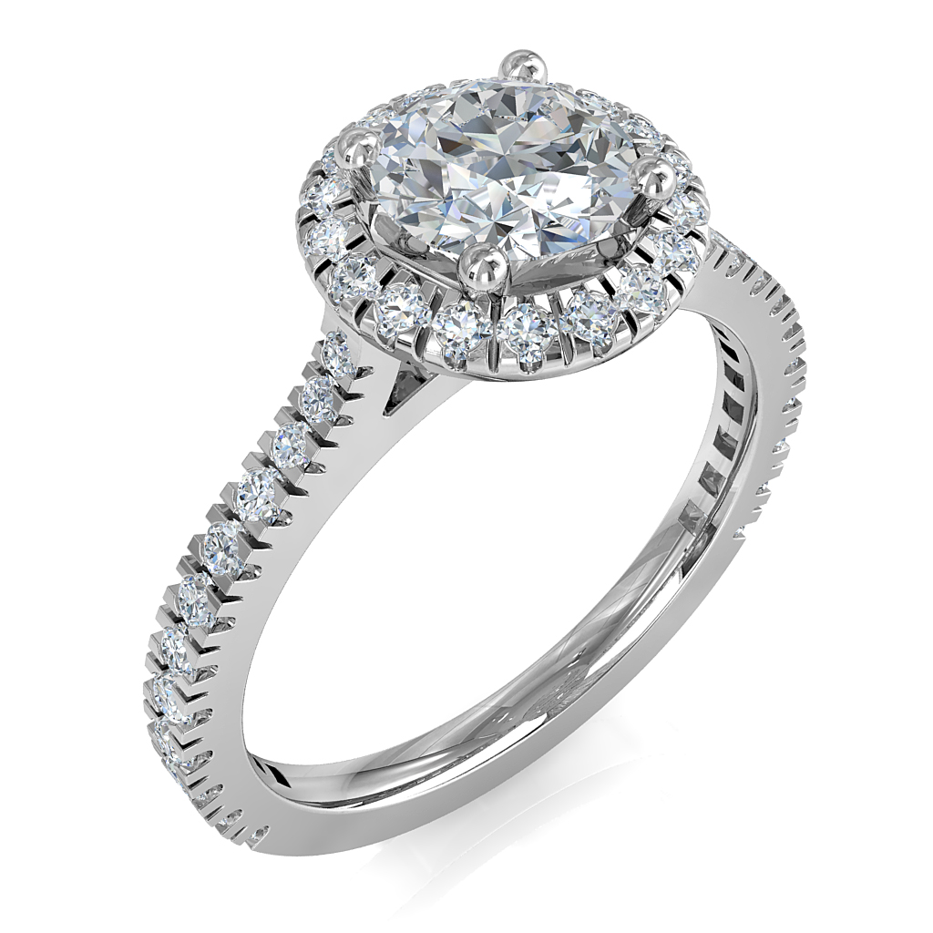 Round Brilliant Cut Halo Diamond Engagement Ring, 4 Claws Set in a Fine Cut Claw Halo on a Tapered Cut Claw Band with Support Bar Undersetting.
