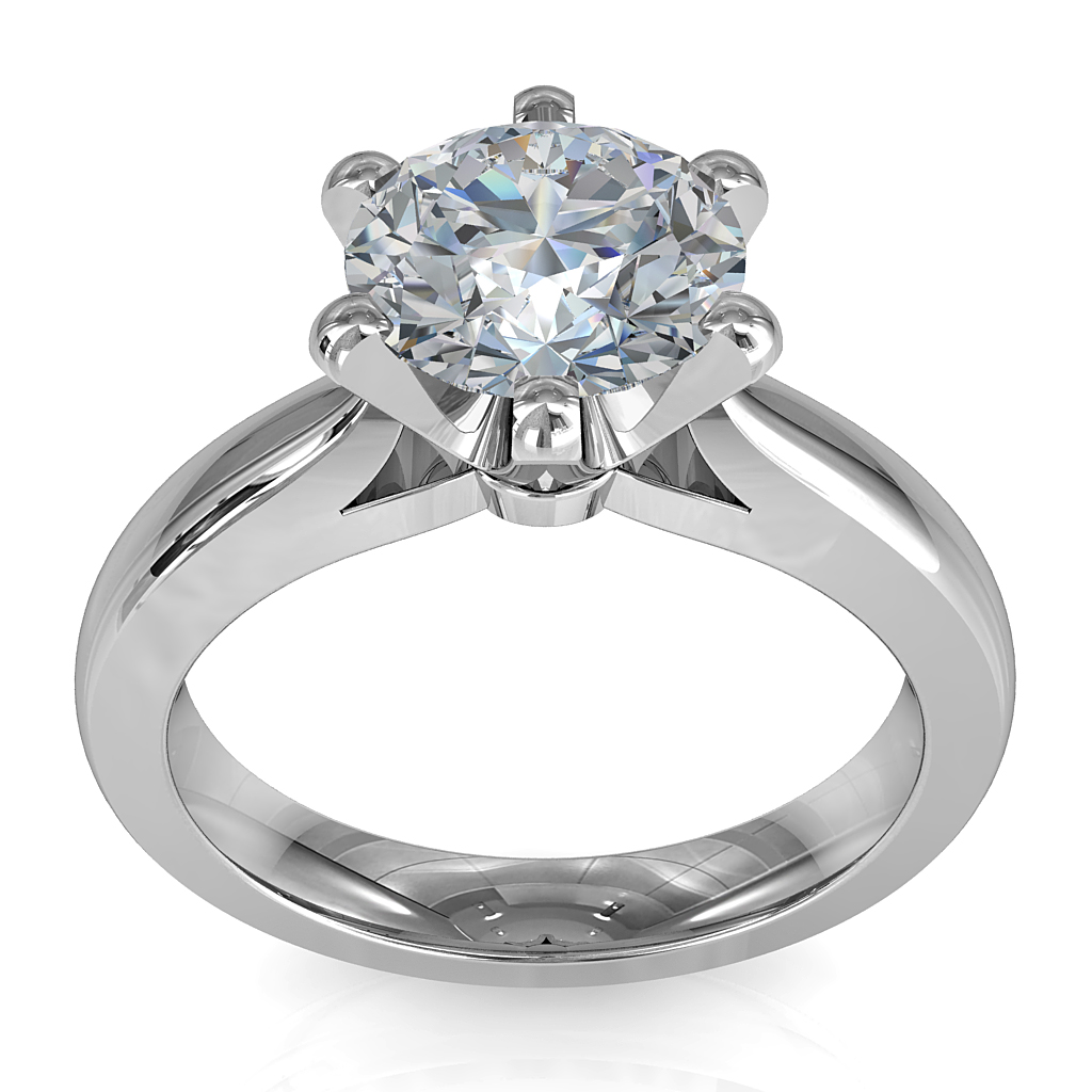 Round Brilliant Cut Solitaire Diamond Engagement Ring, 6 Fine Sqaure Claws Set on Half Rounded Pinched Band with Classic Undersetting.