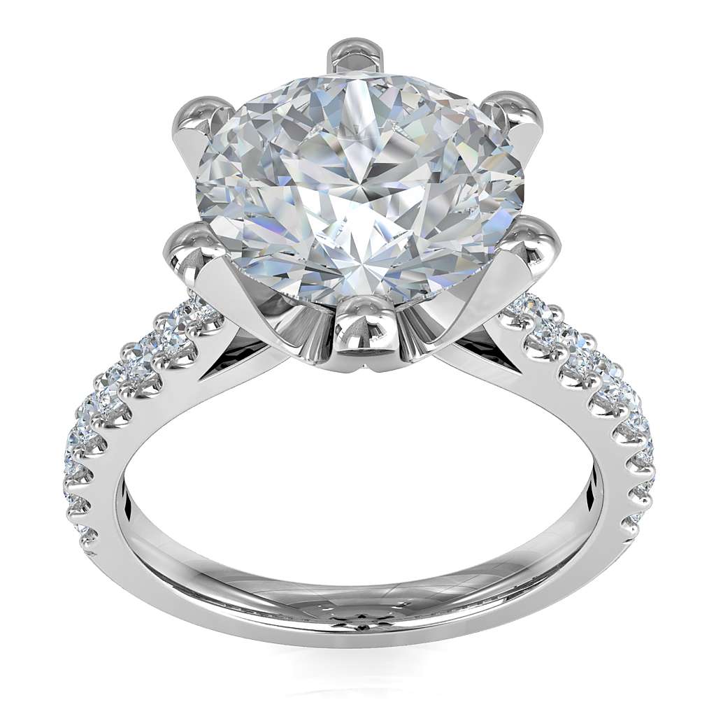 Round Brilliant Cut Solitaire Diamond Engagement Ring, 6 Claws Set on Fine Rounded Cut Claw Band with Fluted Undersetting.