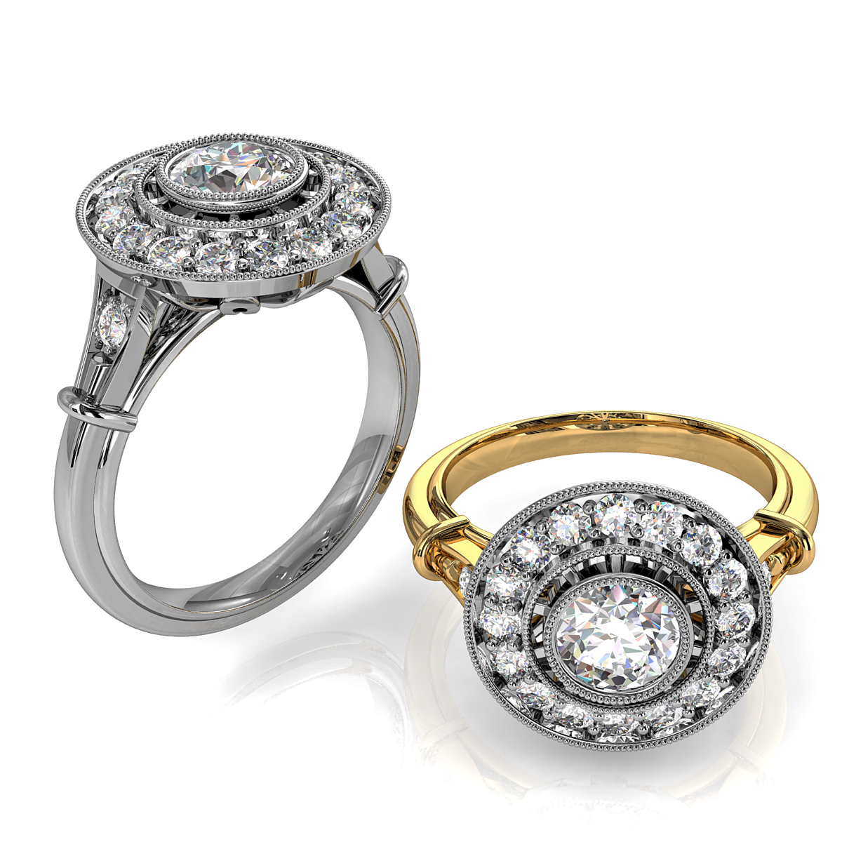 Round Brilliant Cut Diamond Halo Engagement Ring, Bezel Set in a Seperate Bead Set Halo on an Art Deco Band.