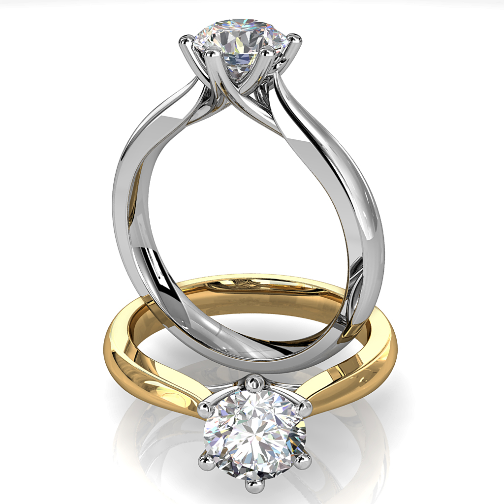 Round Brilliant Cut Solitaire Diamond Engagement Ring, 6 Button Claws Set on Tapered Knife Edge Band with High Dome profile with Fountain Under Setting