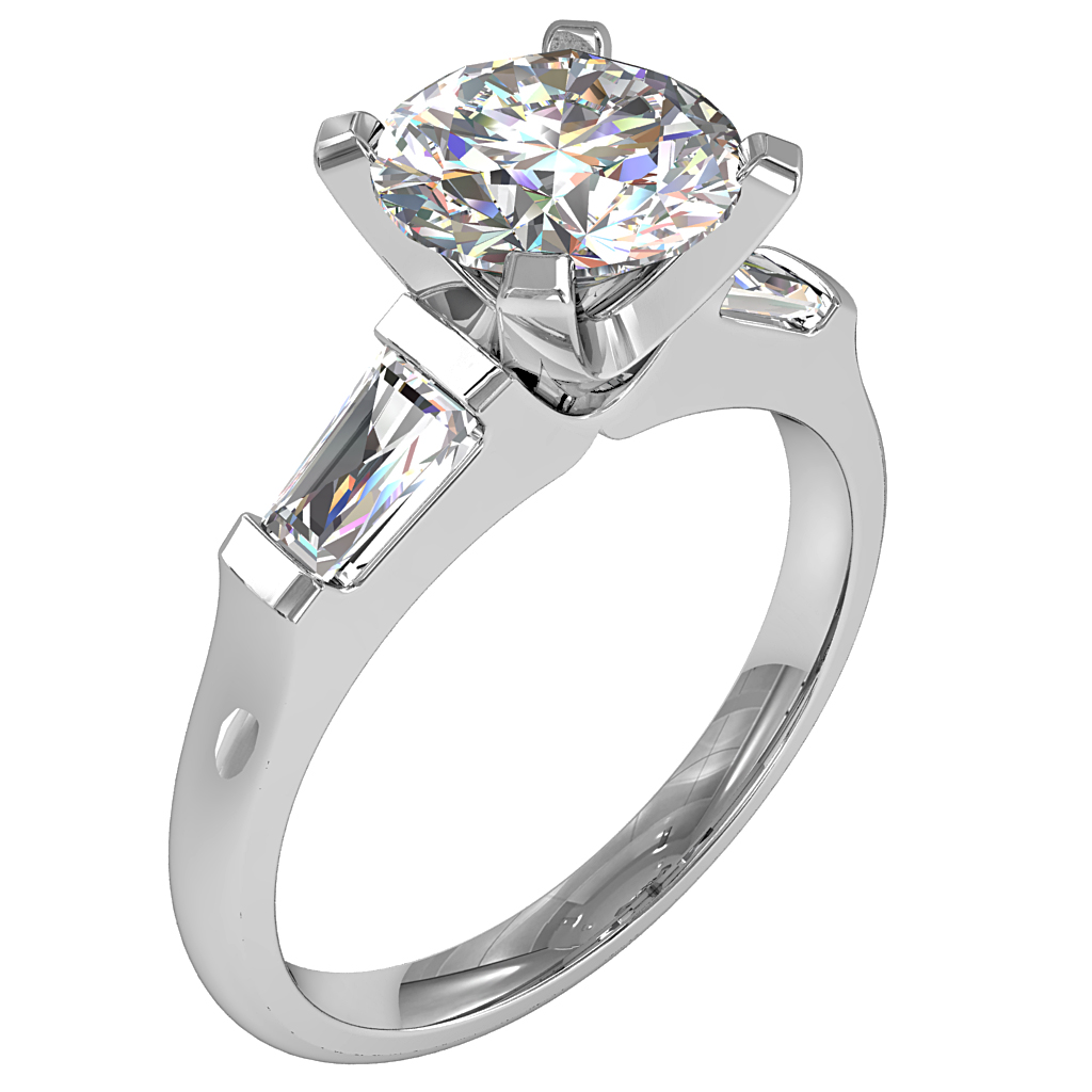 Round Brilliant Cut Diamond Trilogy Engagement Ring, Stones 4 Claw Set with Tapered Baguette Side Stones with a Classic Setting.