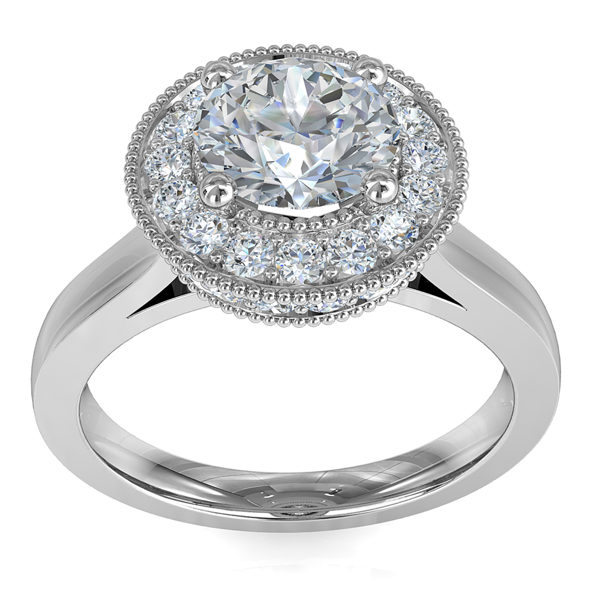 Round Brilliant Cut Halo Diamond Engagement Ring, 4 Claws Set in a Rolled Milgrain Bead Set Halo on Straight Half-Round Band with a Crossover Undersetting.