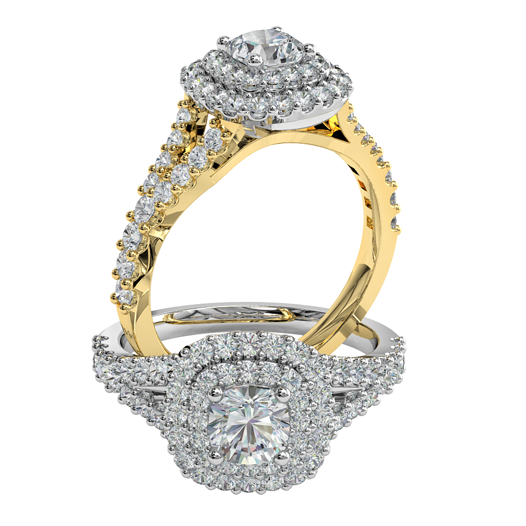 Round Brilliant Cut Diamond Halo Engagement Ring, 4 Claws Set in a Cut Claw Double Halo on a Split Cut Claw Band.