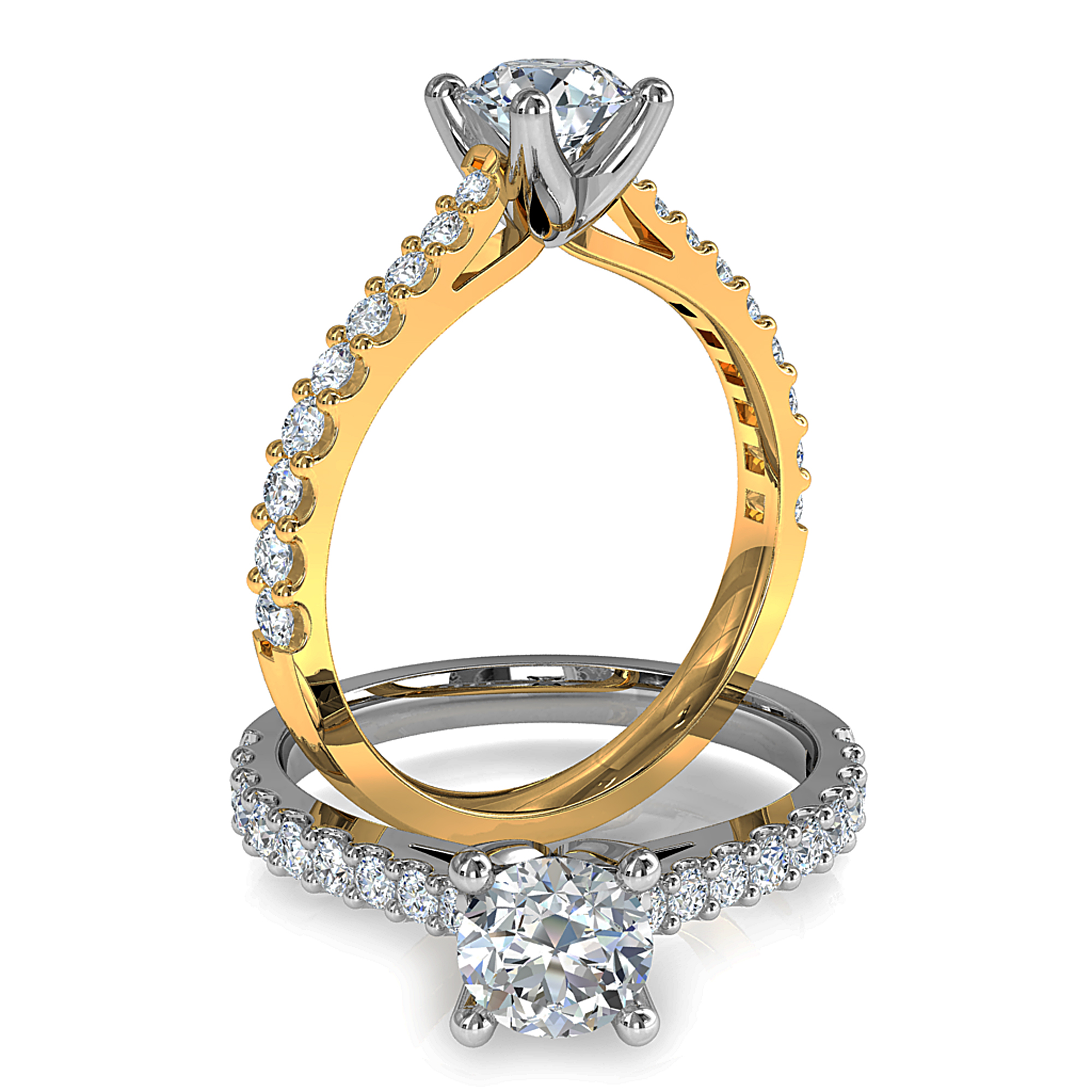 Round Brilliant Cut Solitaire Diamond Engagement Ring, 4 Button Claws Set on a Tapered Cut Claw Band with Fluted Undersetting.