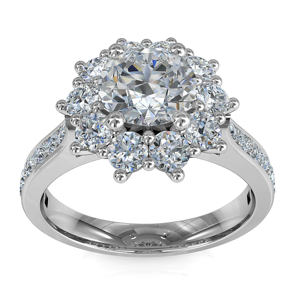 Round Brilliant Cut Diamond Cluster Halo Engagement Ring, 4 Claws Set in a Vintage Cluster Halo on a Bead Set Tapered Band with Wire Basket Undersetting.