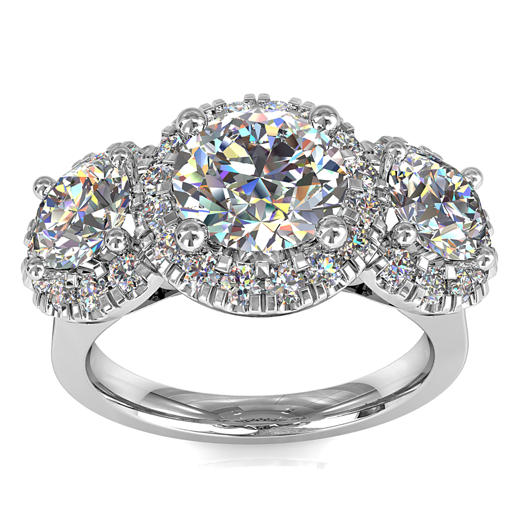 Round Brilliant Cut Diamond Halo Trilogy Engagement Ring, Stones 4 Claw Set in Cut Claw Halos with Filagree Under-basket.