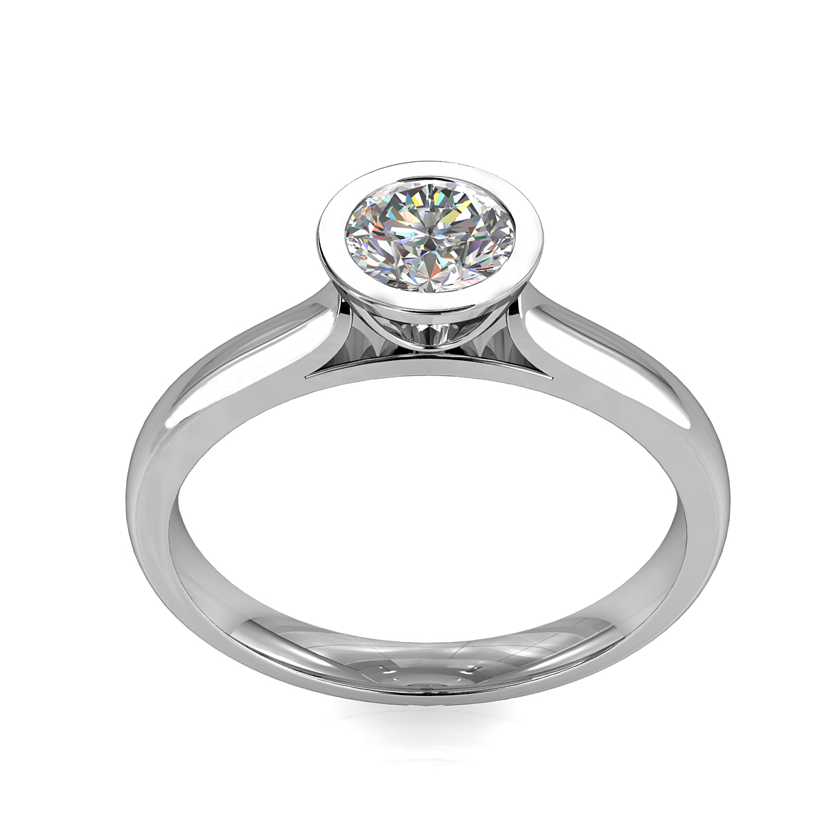 Round Brilliant Cut Solitaire Diamond Engagement Ring, Bezel Set on a Half Domed Band with Classic Open Undersetting.