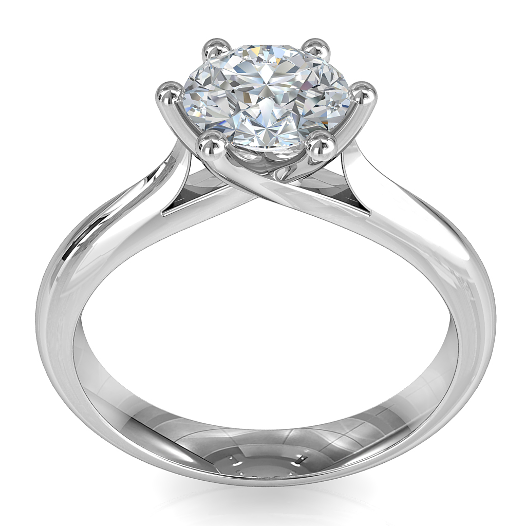 Round Brilliant Cut Solitaire Diamond Engagement Ring, 6 Button Offset Claws on a Round Tapered Band with Sweeping Undersetting.