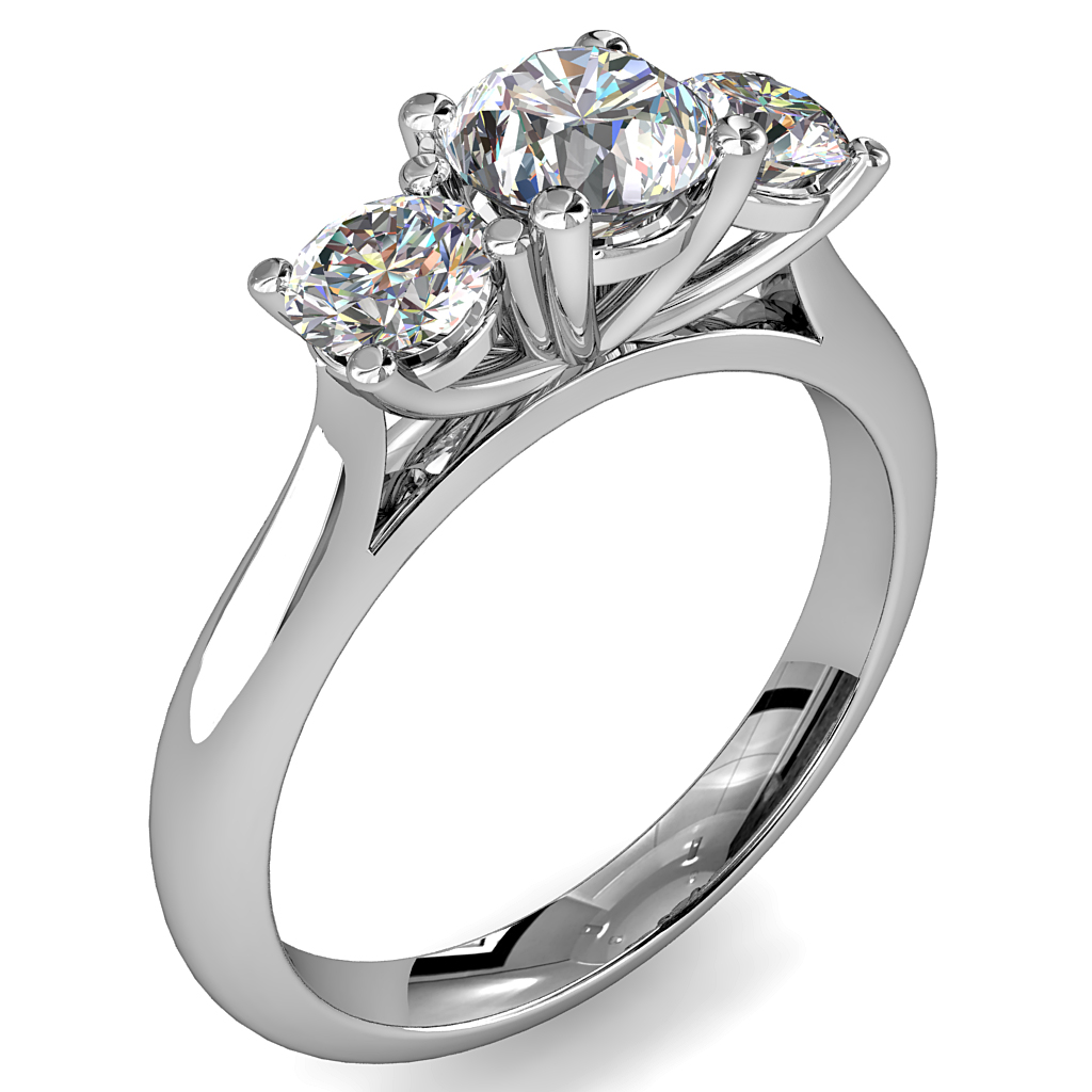 Round Brilliant Cut Diamond Trilogy Engagement Ring, Stones 4 Claw Set on a Round Tapered Band with Classic Underrail Setting.