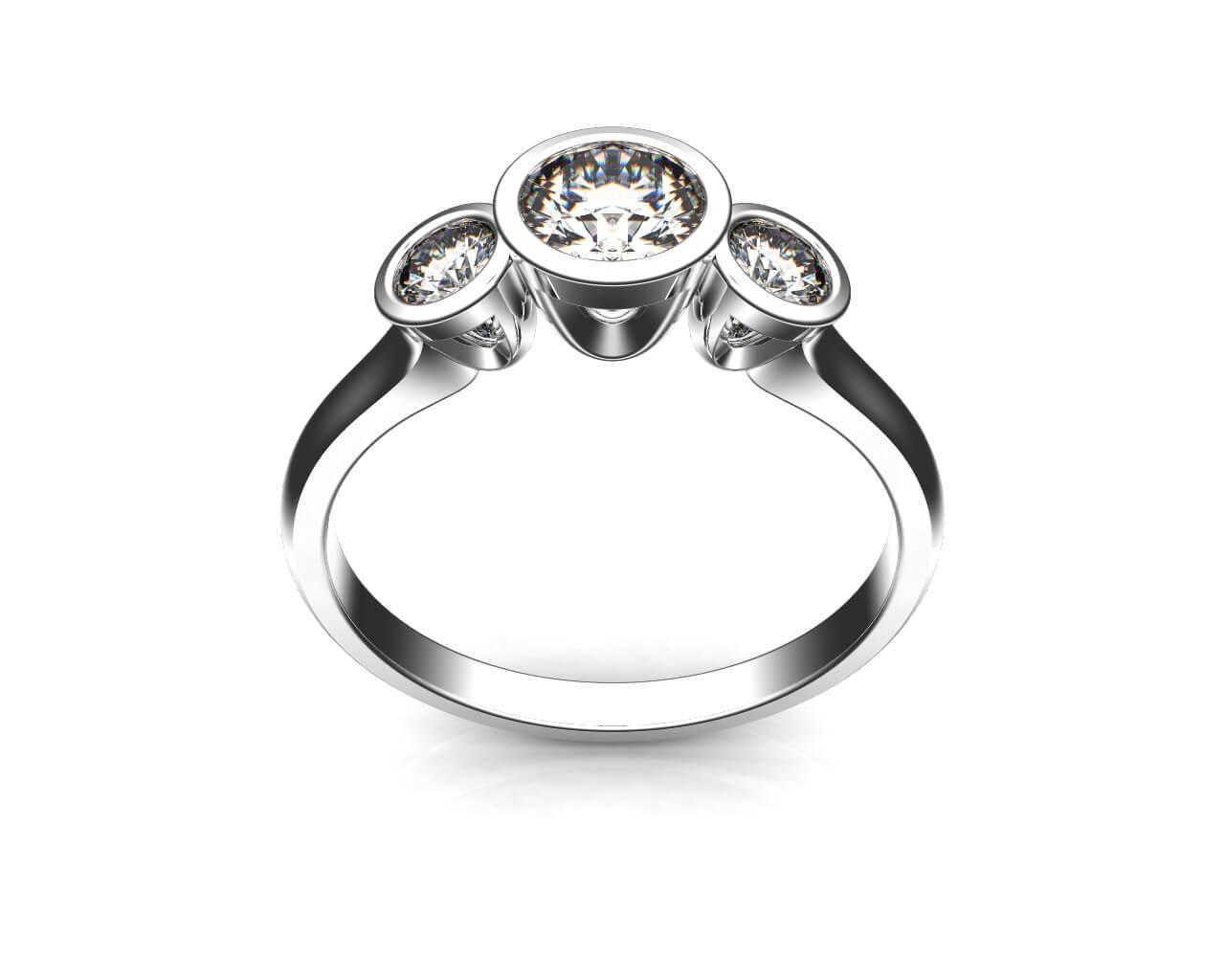 Round Brilliant Cut Diamond Trilogy Engagement Ring, Bezel Set Stones on a Thin Plain Polished Band.