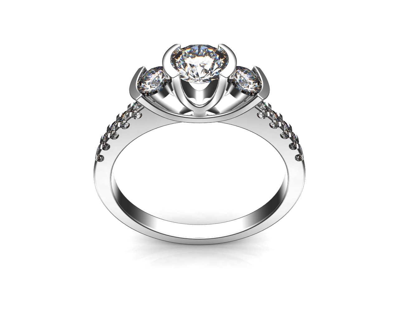 Round Brilliant Cut Diamond Trilogy Engagement Ring, Semi Bezel Tension Set Stones on a Cut Claw Band and Scooped Undersetting.