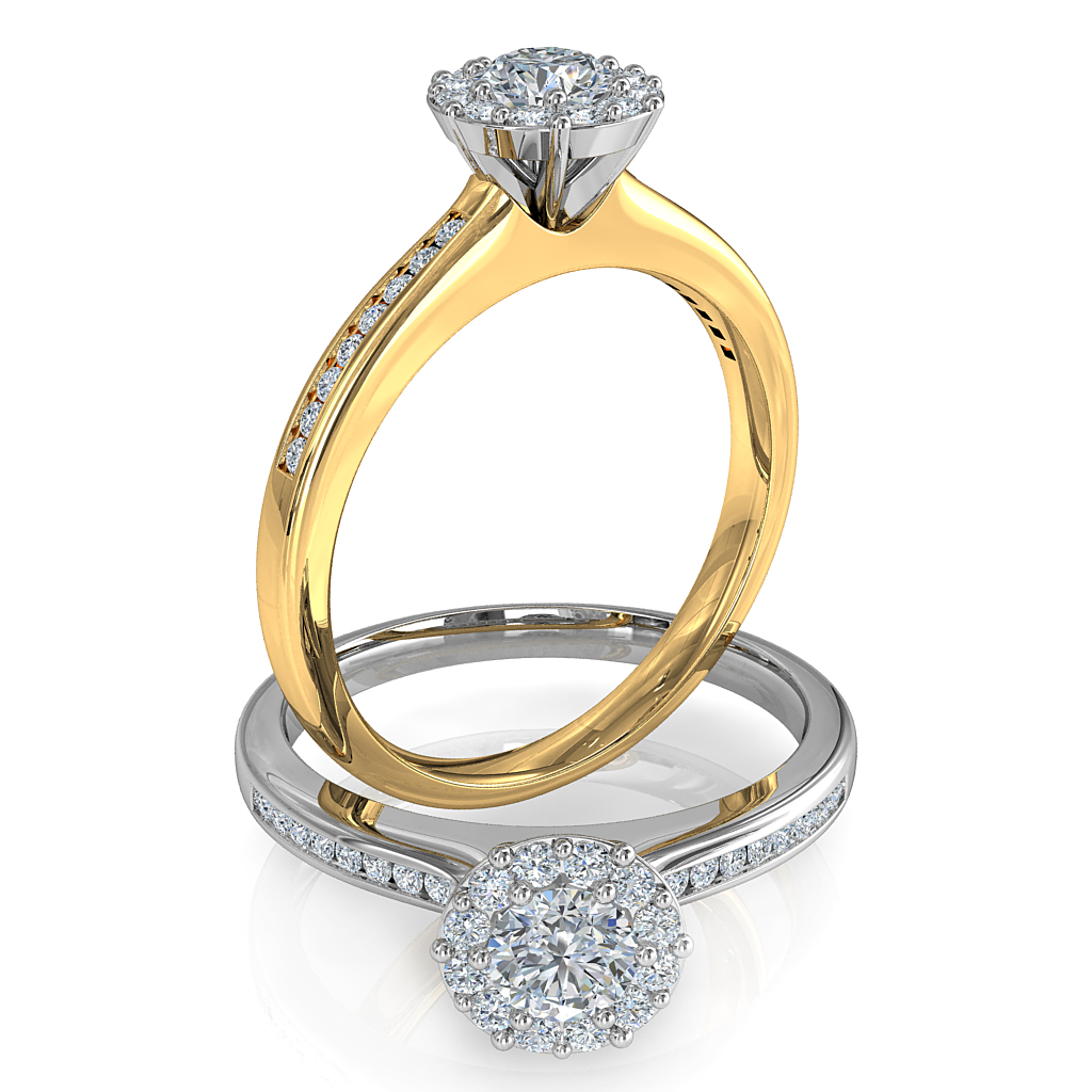 Round Brilliant Cut Diamond Halo Engagement Ring, 8 Claws Set in an Illusion Halo on a Round Channel Set Band with Wire Basket Undersetting.