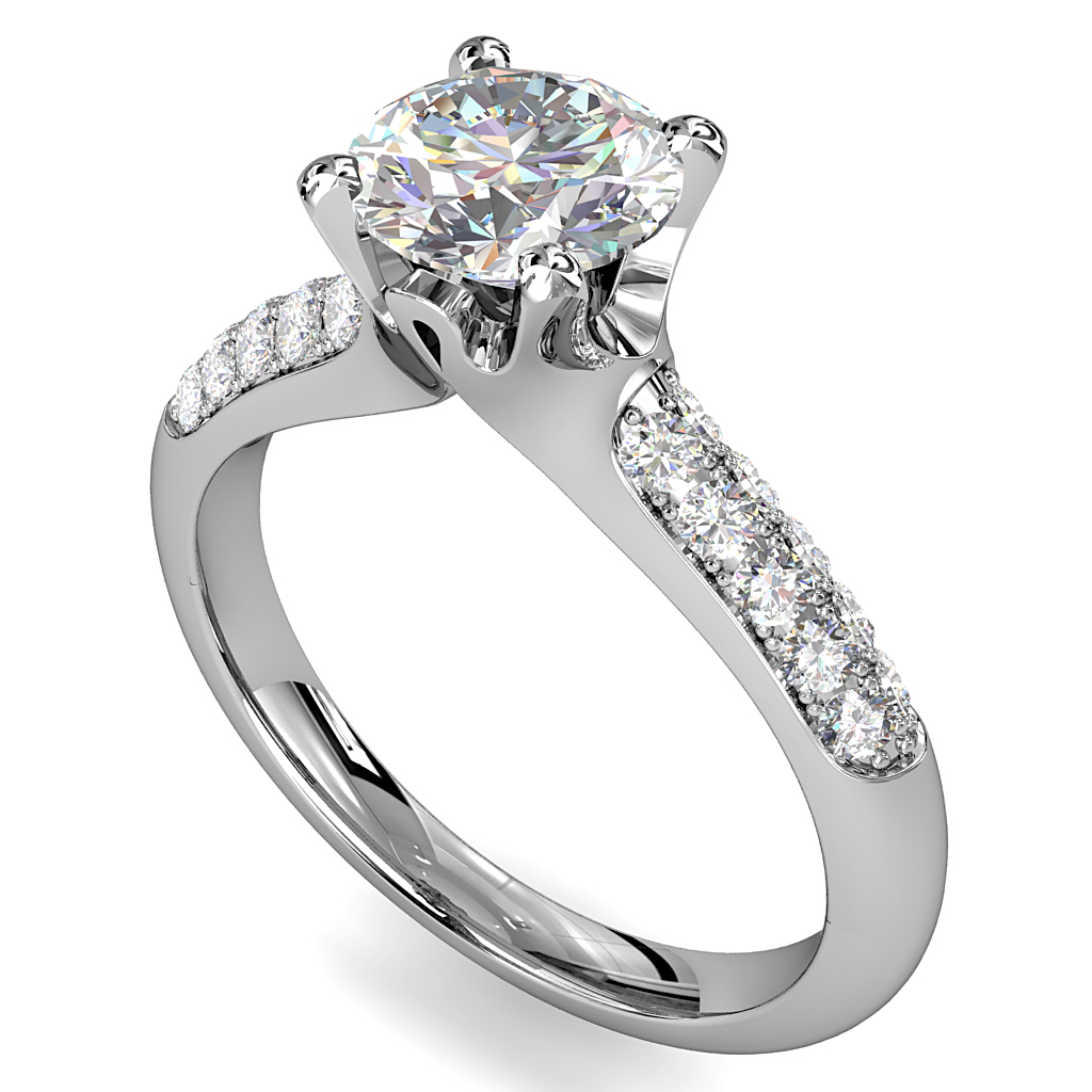 Round Brilliant Cut Solitaire Diamond Engagement Ring, 4 Claws Set on Three Row Pavé band with Solid Undersetting.