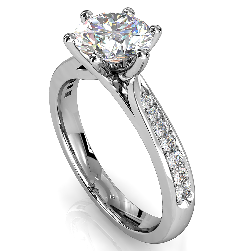 Round Brilliant Cut Solitaire Diamond Engagement Ring, 6 Fine Claws Set on Thin Tapered Band with Crossover Undersetting.