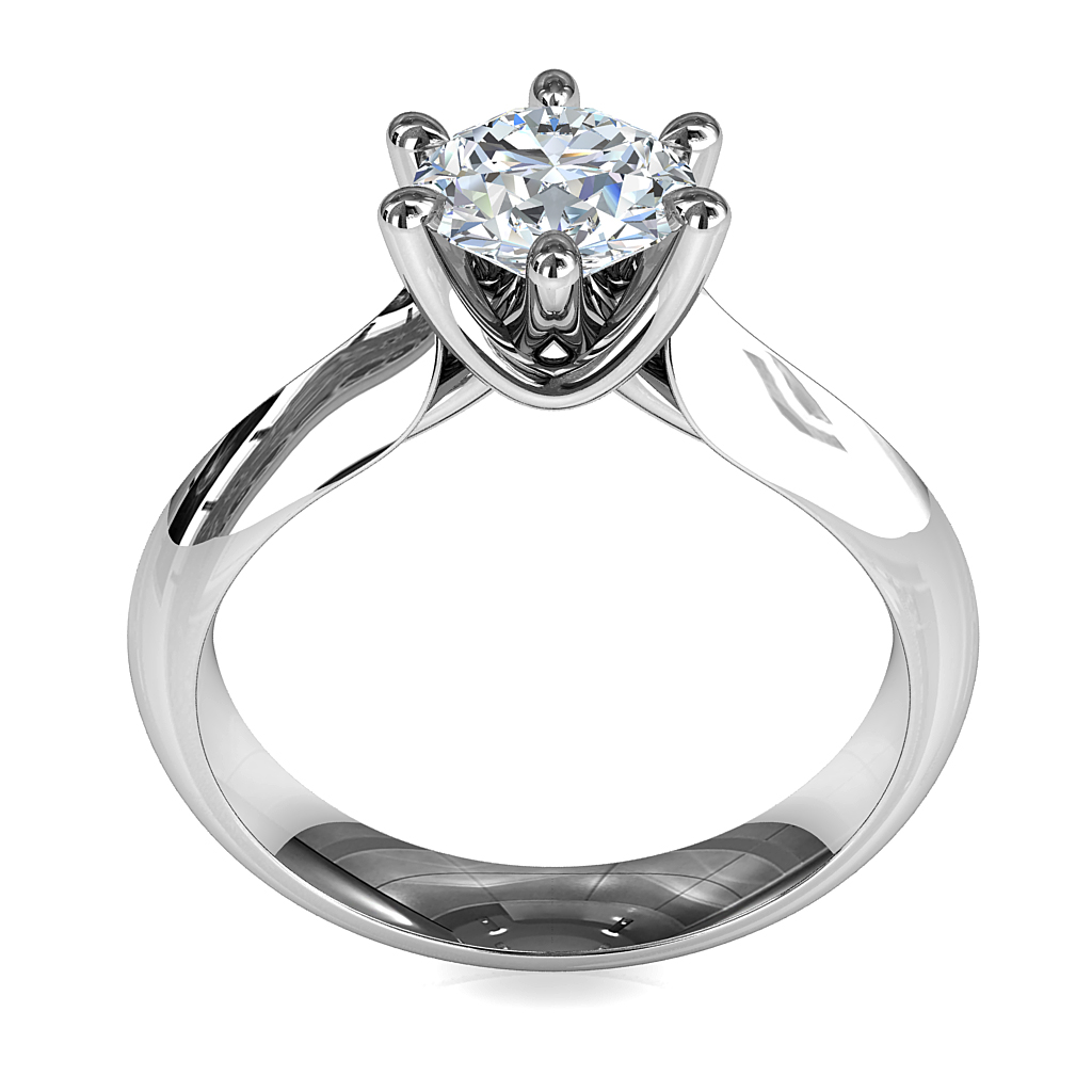 Round Brilliant Cut Solitaire Diamond Engagement Ring, 6 Fine Pear Shaped Claws on Knife edge Wide Taper band with Wire Sweeped Under setting.