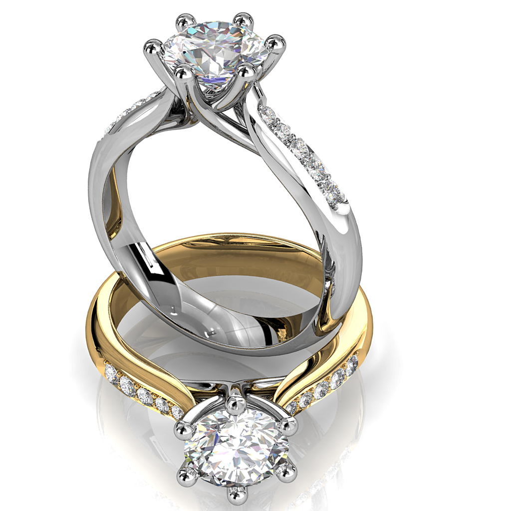 Round Brilliant Cut Solitaire Diamond Engagement Ring, 6 Button Claws Set on a Rounded Tapered Bead Set Band with Undersweep Setting.