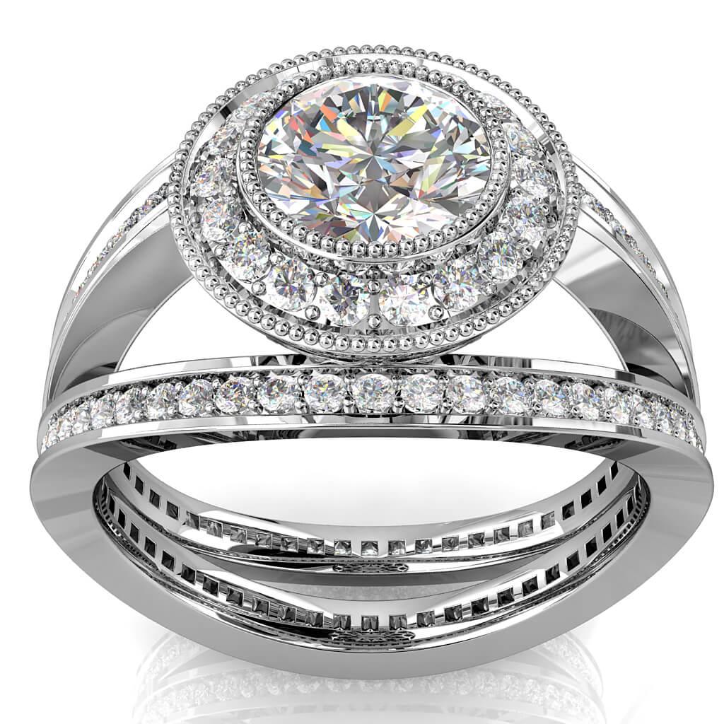 Round Brilliant Cut Diamond Halo Engagement Ring, Milgrain Bezel Set Centre stone in a Milgrain Bead set Halo on a Large Open Split Bead set Milgrained Band.