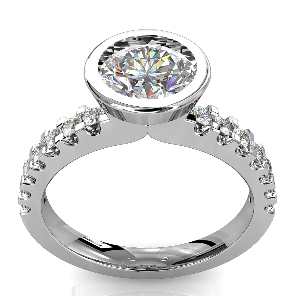 Round Brilliant Cut Diamond Solitaire Engagement Ring, Bezel Set on a Heavy Cut Claw Band.