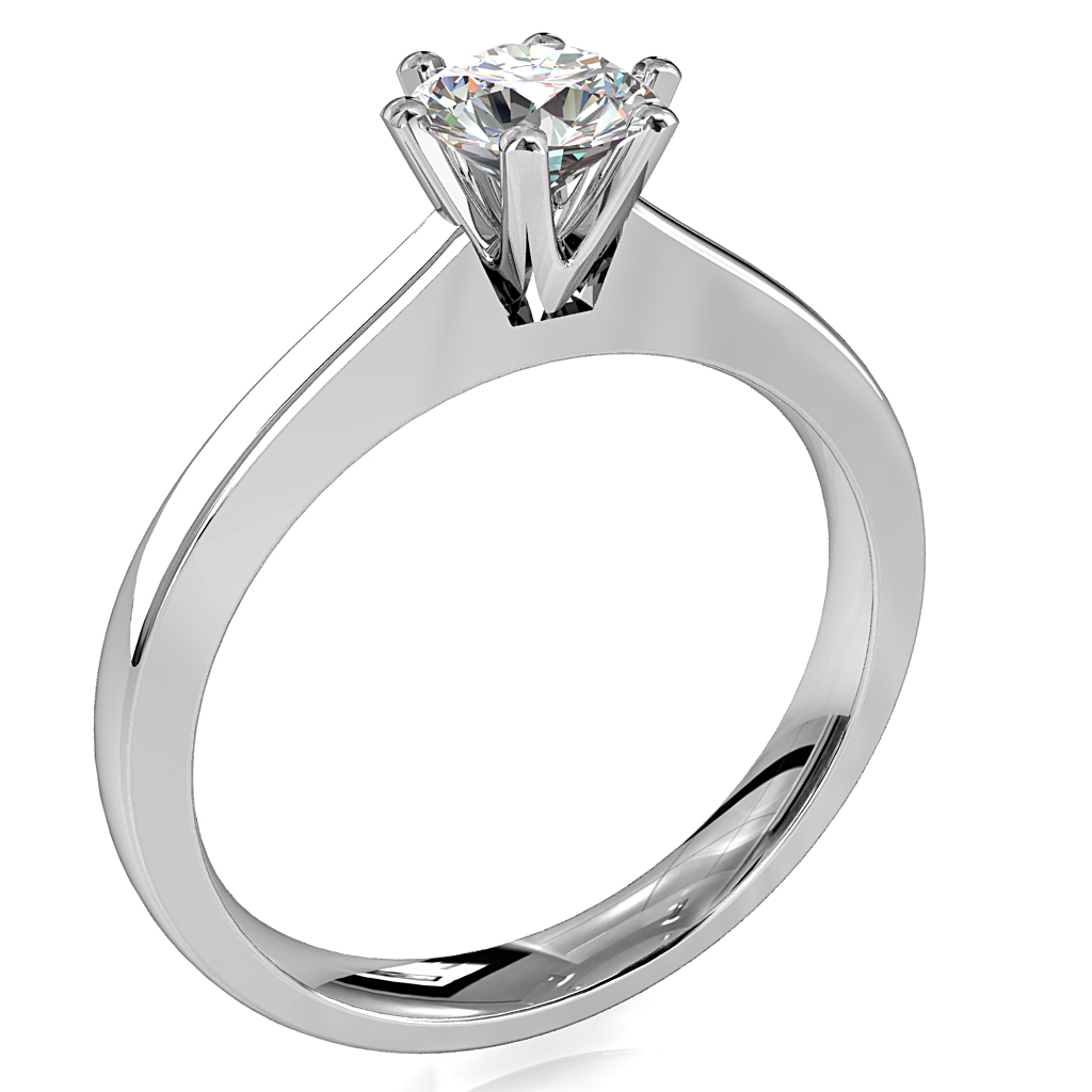 Round Brilliant Cut Solitaire Diamond Engagement Ring, 6 Fine Button Claws Set on Flat Band Gradual Tapred Band with Classic Undersetting.