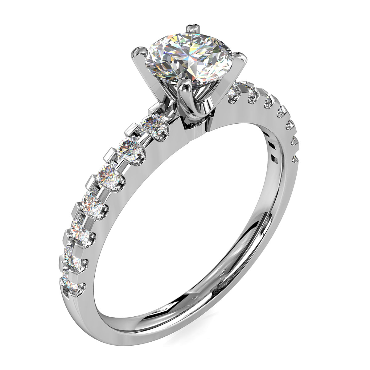 Round Brilliant Cut Solitaire Diamond Engagement Ring, 4 Claws Set on a Thin Double Cut Claw Band with Classic Undersetting.