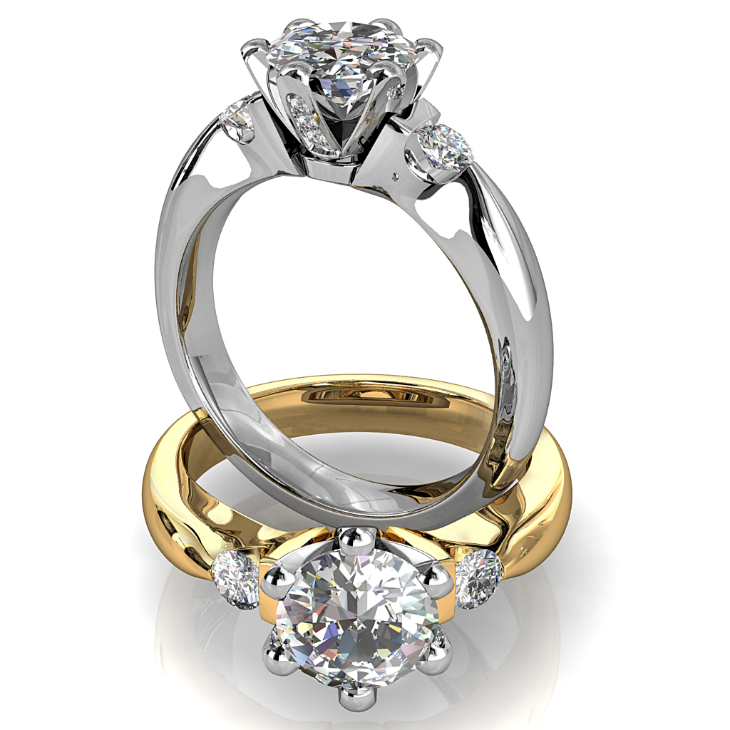 Round Brilliant Cut Diamond Trilogy Engagement Ring, Stones 6 Claw Set with Tension Set Side Stones and a Diamond Set Classic Undersetting.