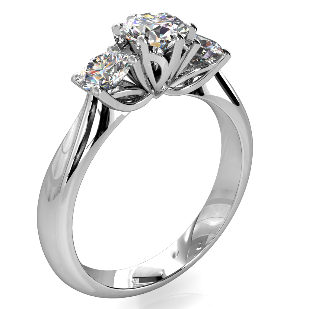 Round Brilliant Cut Diamond Trilogy Engagement Ring, Centre 6 Claw Set with 4 Claw Set Side Stones with a Lotus Flower Undersetting.