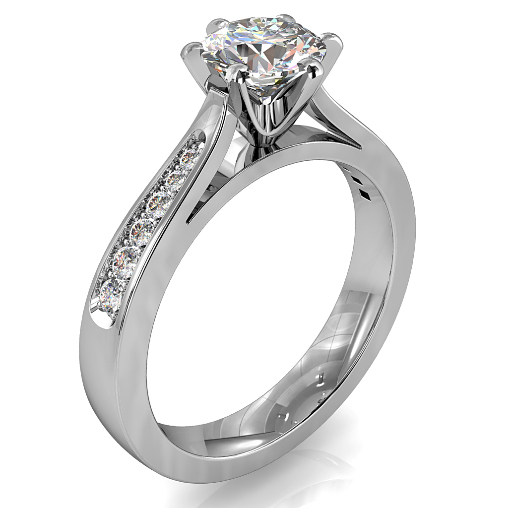 Round Brilliant Cut Solitaire Diamond Engagement Ring, 6 Button Claws Set on Tapered Bead Set Flat Band with Classic Underrail Setting.