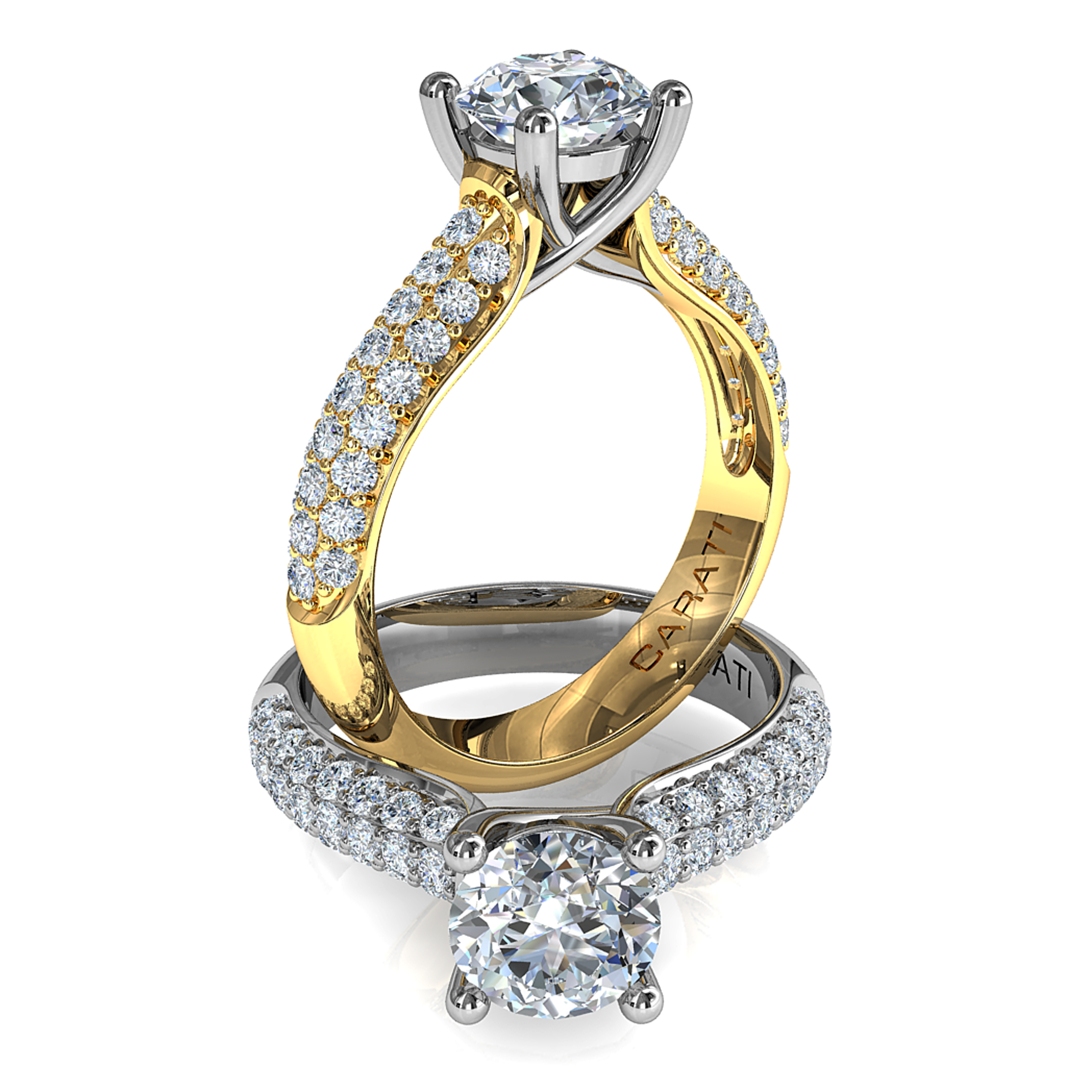 Round Brilliant Cut Solitaire Diamond Engagement Ring, 4 Button Claws Set on a Wide Three Row Pavé Band with Classic Support Bar Undersetting.