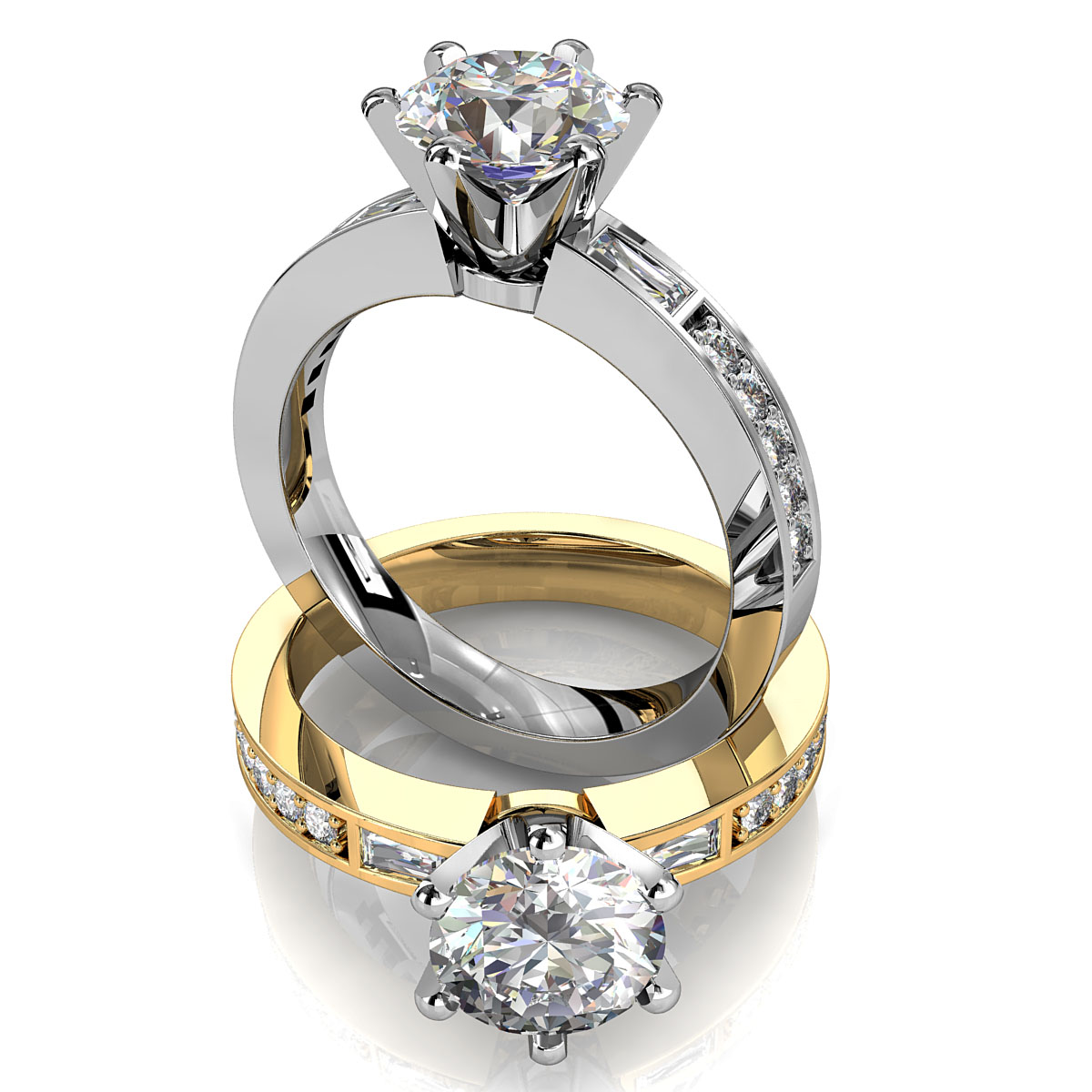 Round Brilliant Cut Solitaire Diamond Engagement Ring, 6 Claws Set with Tapered Baguette Side Stones on a Bead Set Straight Band.