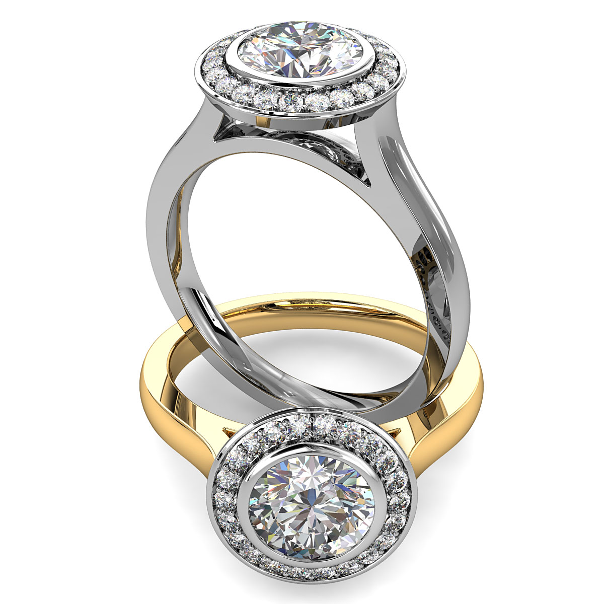 Round Brilliant Cut Halo Diamond Engagement Ring, Bezel Set Centre Stone in a Fine Bead Set Halo on Flat Band with an Open Undersetting.