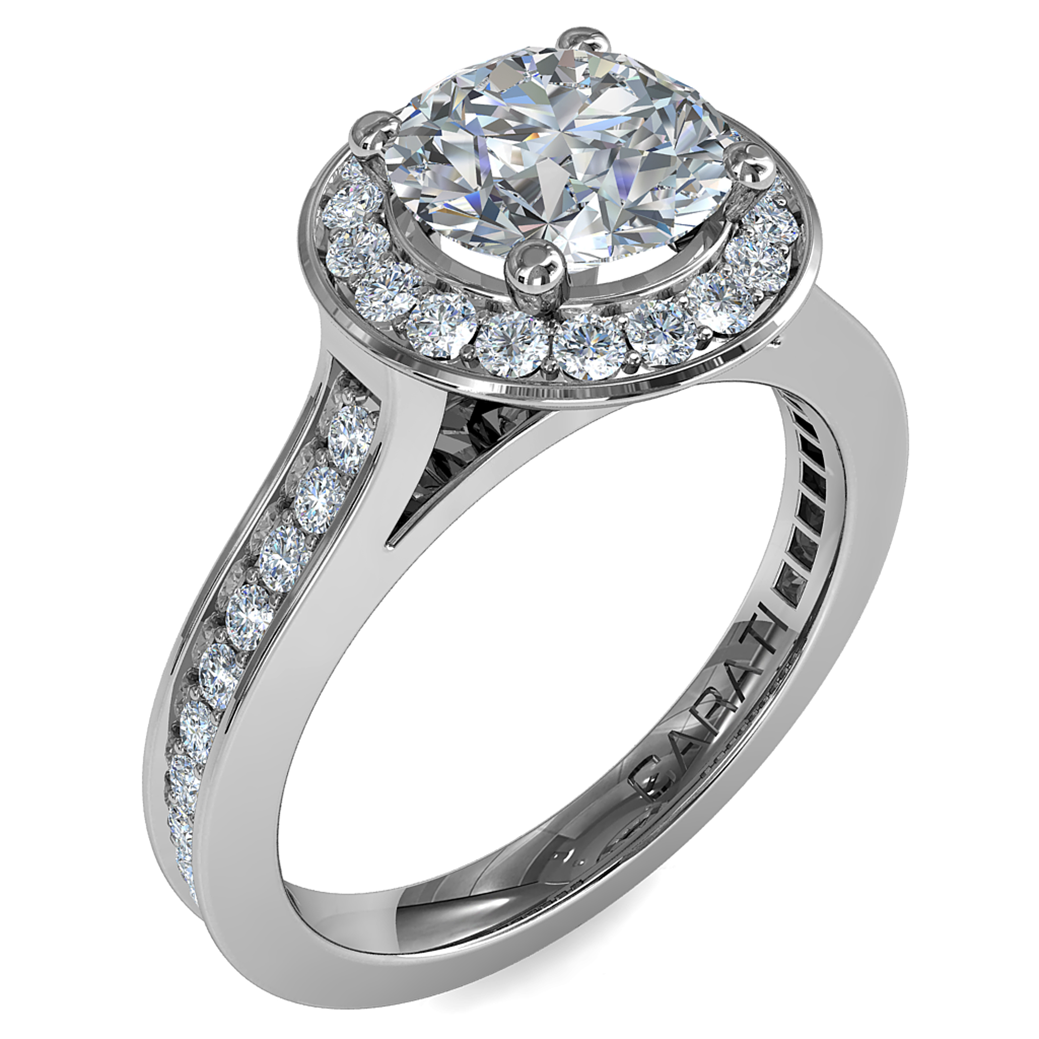Round Brilliant Cut Halo Diamond Engagement Ring, 4 Claws Set in a Bead Set Halo on a Bead Set Band with Classic Support Bar Undersetting.