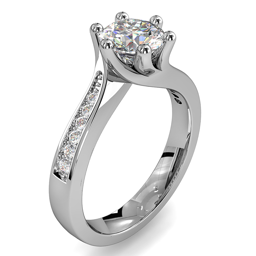 Round Brilliant Cut Solitaire Diamond Engagement Ring, 6 Claws Set on Sweeping Bead Set Band with Twisted Undersetting.