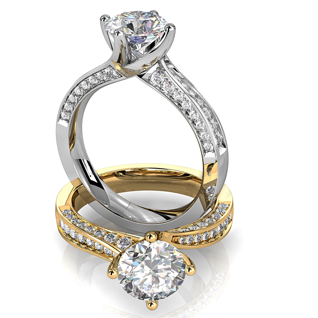 Round Brilliant Cut Solitaire Diamond Engagement Ring, 6 Button Claws Set on a Wide Channel Set Straight Band with Raised Crown Undersetting.
