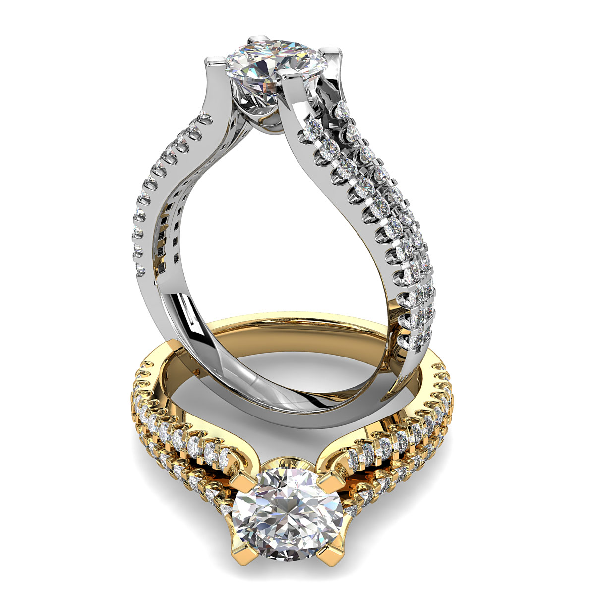 Round Brilliant Cut Diamond Solitaire Engagement Ring, 4 Square Claw Set on a Split Cut Claw Band.