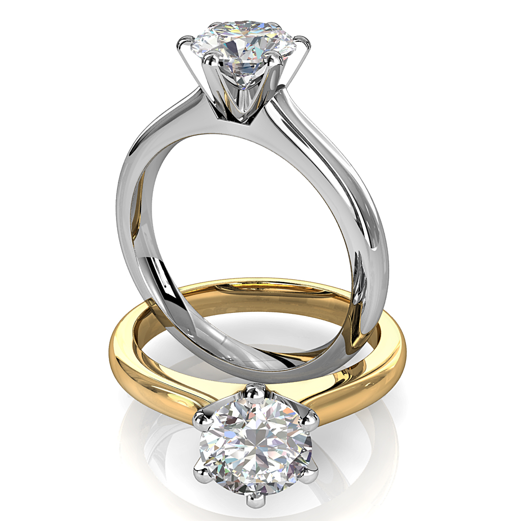 Round Brilliant Cut Solitaire Diamond Engagement Ring, 6 Button Claws Set on Half Round Straight Band with Classic Undersetting.