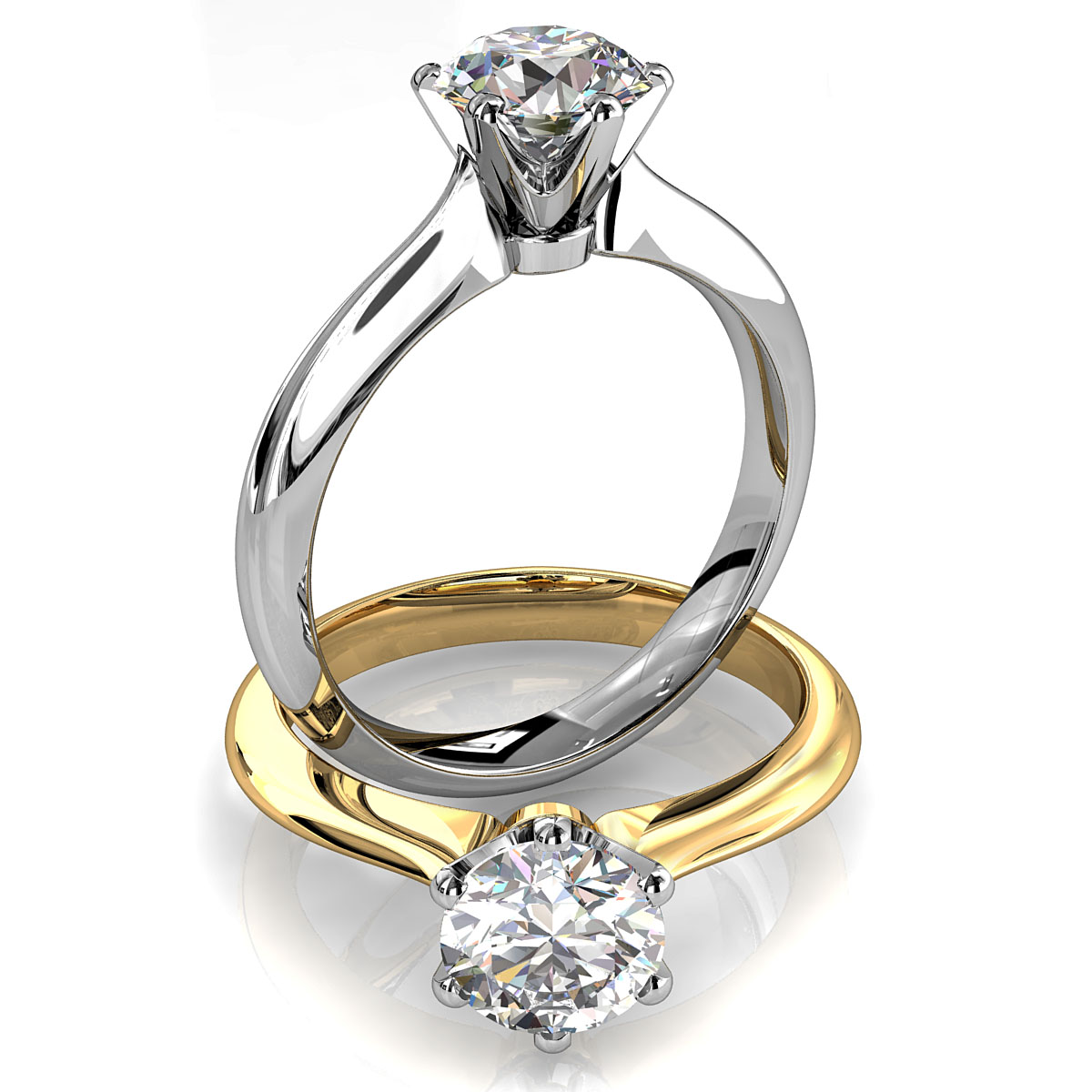 Round Brilliant Cut Solitaire Diamond Engagement Ring, 6 Button Claws Set on Tapered Knife Edge Rounded Band with Crown Undersetting.