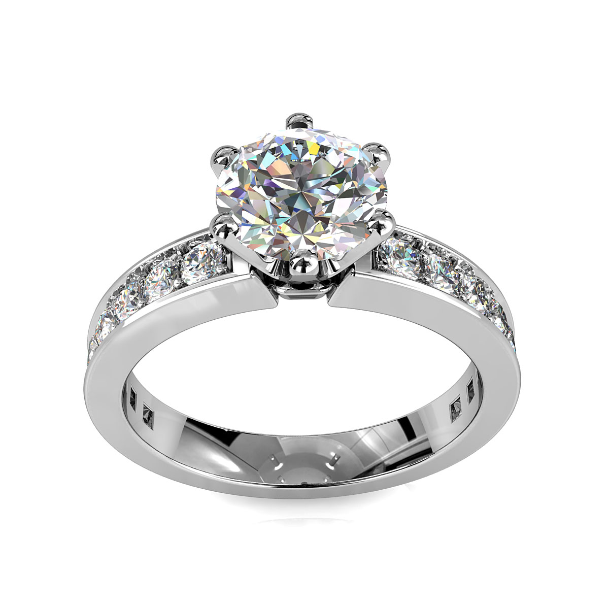 Round Brilliant Cut Solitaire Diamond Engagement Ring, 6 Button Claws Set on Straight Channel Set Band with Crown Undersetting.