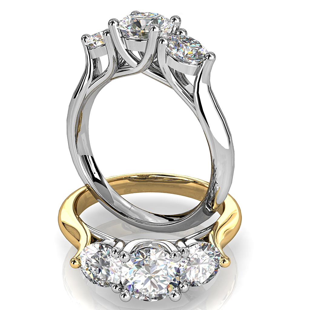 Round Brilliant Cut Diamond Trilogy Engagement Ring, Centre 4 Claw Set with 3 Claw Set Side Stones on a Wide Band with Undersweep Setting and Support Bar.