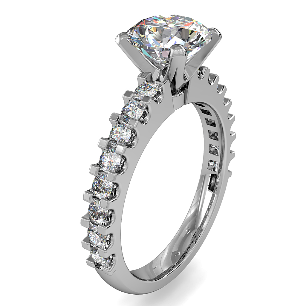 Round Brilliant Cut Solitaire Diamond Engagement Ring, 4 Button Claws Set on a Straight Cut Claw Band with Classic Undersetting.