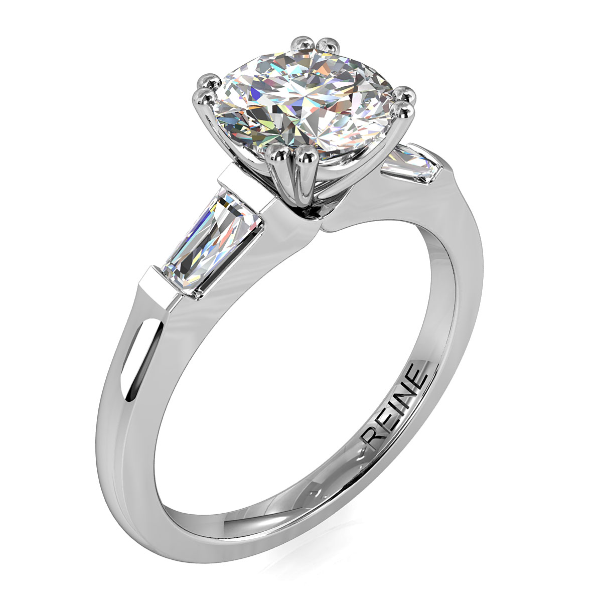 Round Brilliant Cut Diamond Trilogy Engagement Ring, Stones 4 Double Claw Set with Tapered Baguette Side Stones with a Classic Undersetting.