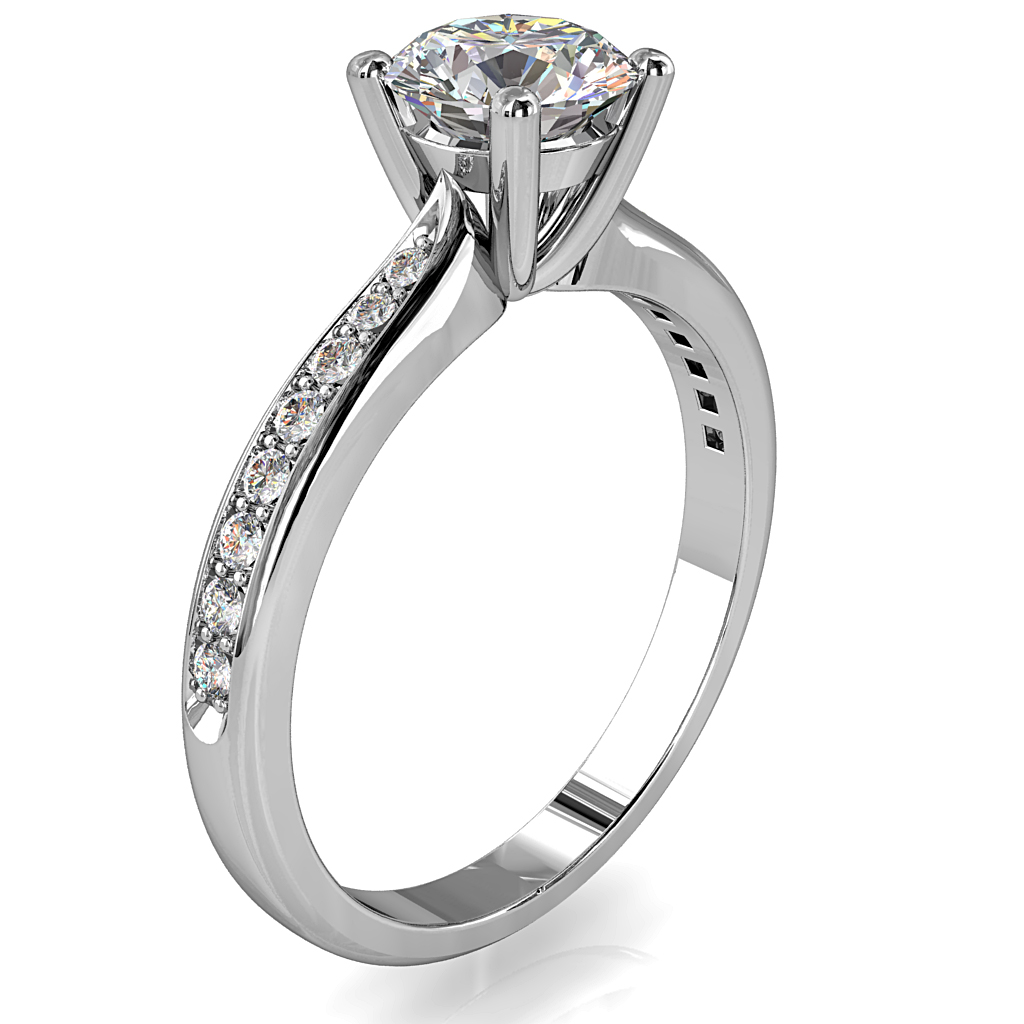 Round Brilliant Cut Solitaire Diamond Engagement Ring, 4 Button Claws Set on a Pinched Bead Set Band with Classic Support Bar Undersetting.