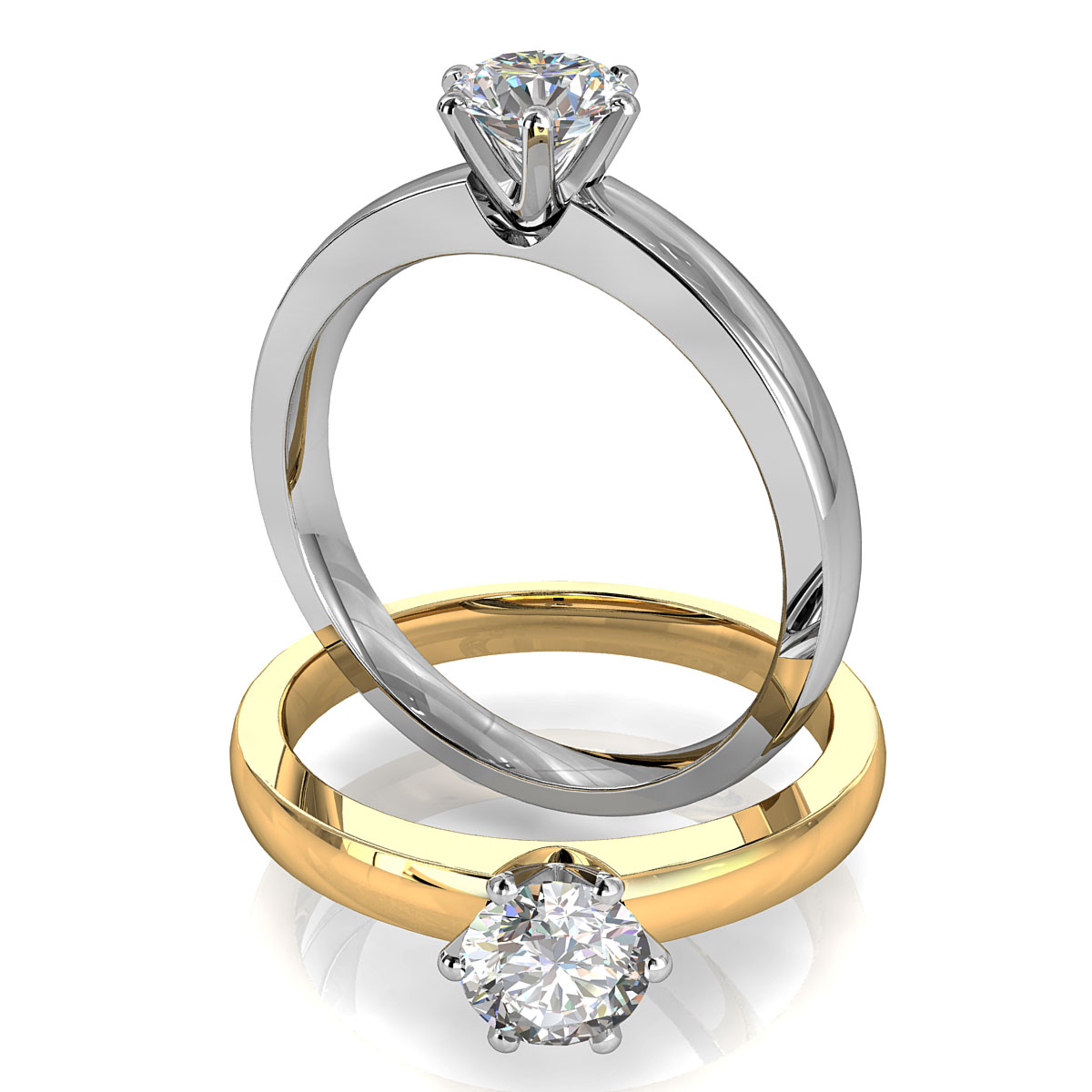 Round Brilliant Cut Solitaire Diamond Engagement Ring, 6 Offset Claws Set on Wide Straight Flat Band.
